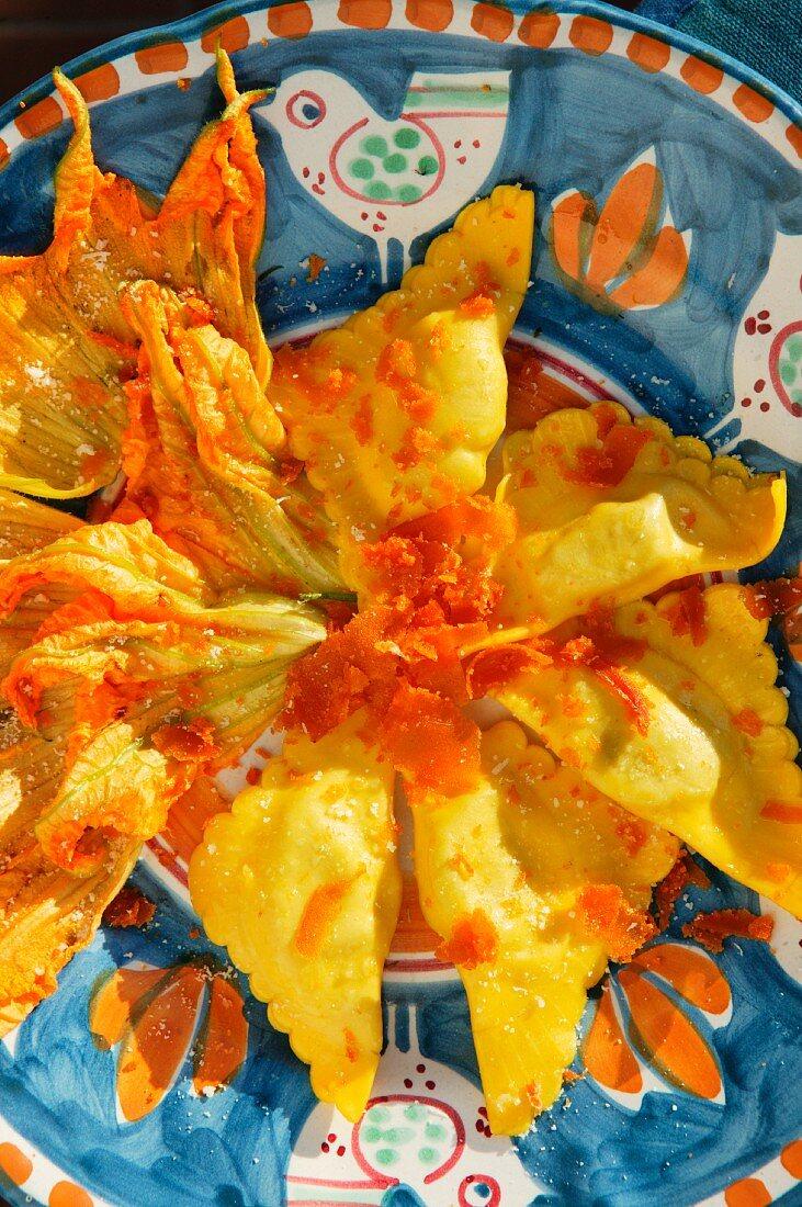 Fish eggs ravioli with courgette flowers and botargo, Orestorante restaurant, Ponza island, Lazio, Italy