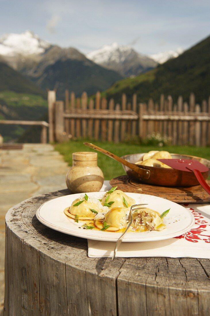 South Tyrolean ravioli filled with sauerkraut