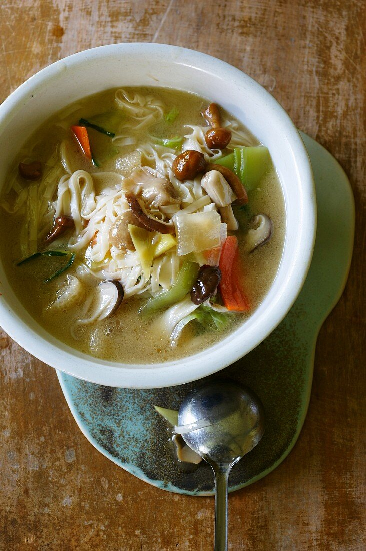 Soup with homemade noodles, vegetables and mushrooms