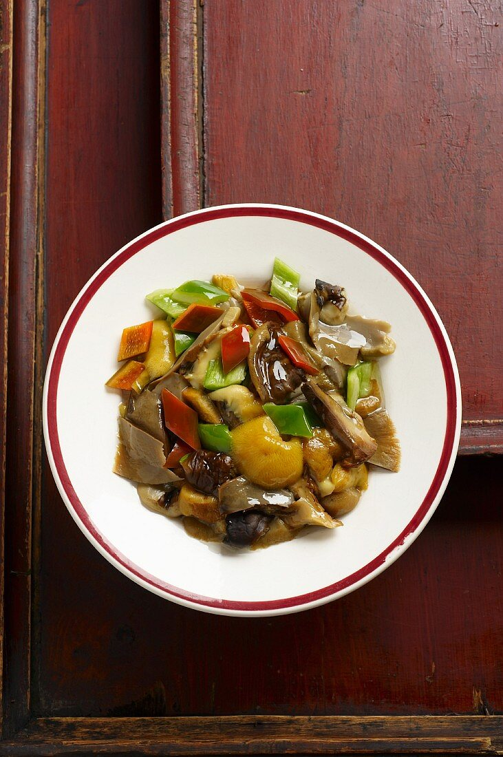Porcini mushrooms with a duo of peppers