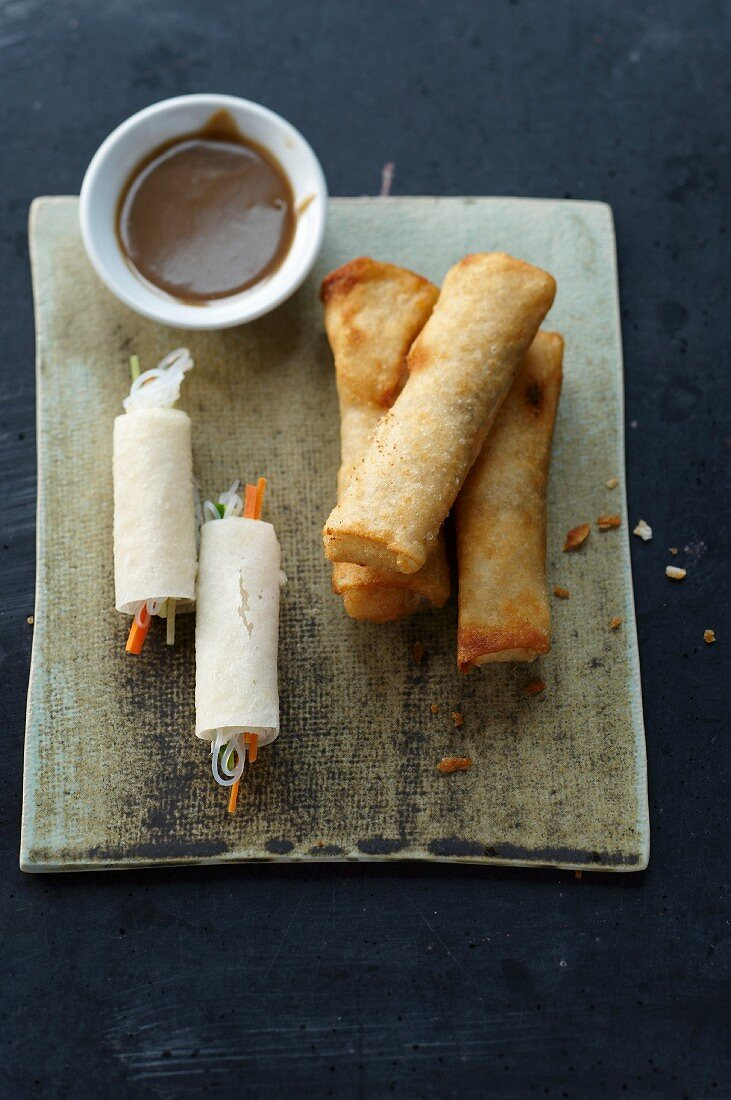 Spring rolls with a sesame seed dip