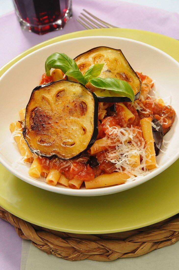 Maccheroncini alla Norma, typical sicilian pasta, Sicily, Italy, Europe
