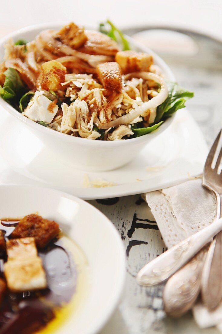 Chicken salad with feta, rocket and pomegranat & balsamic vinegar dressing
