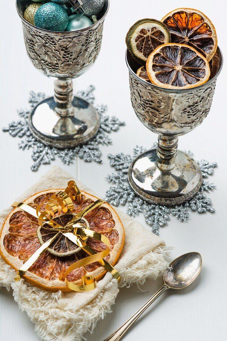 Dried citrus fruits as a Christmas decoration