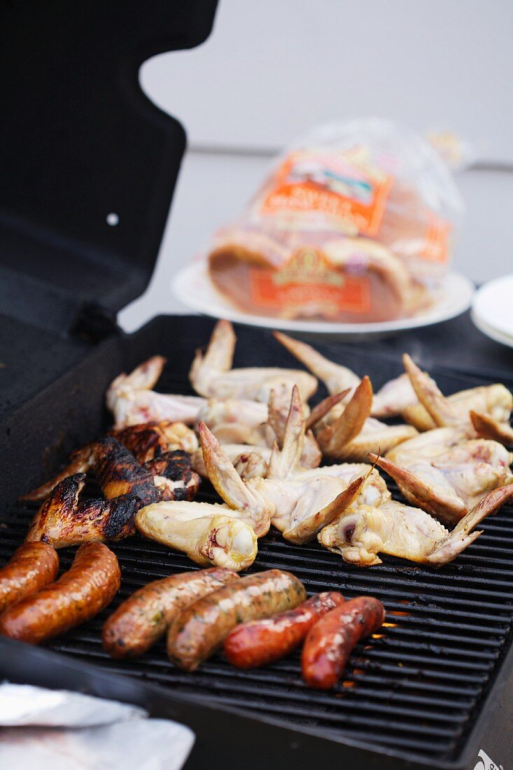 Barbecued food on a barbecue
