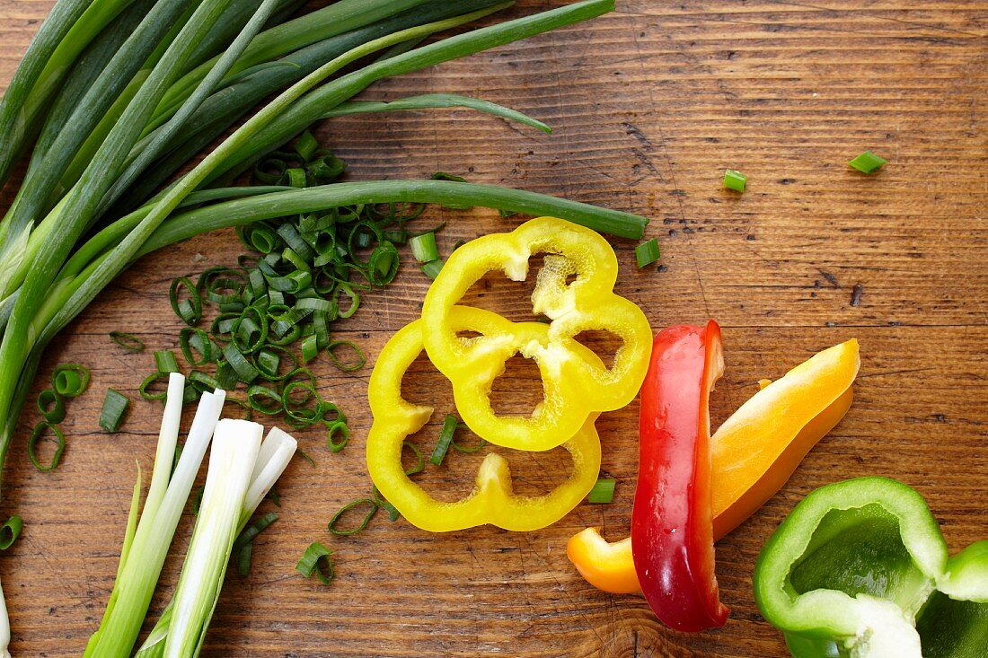 Scallion with Red, Yellow and Green Bell Peppers