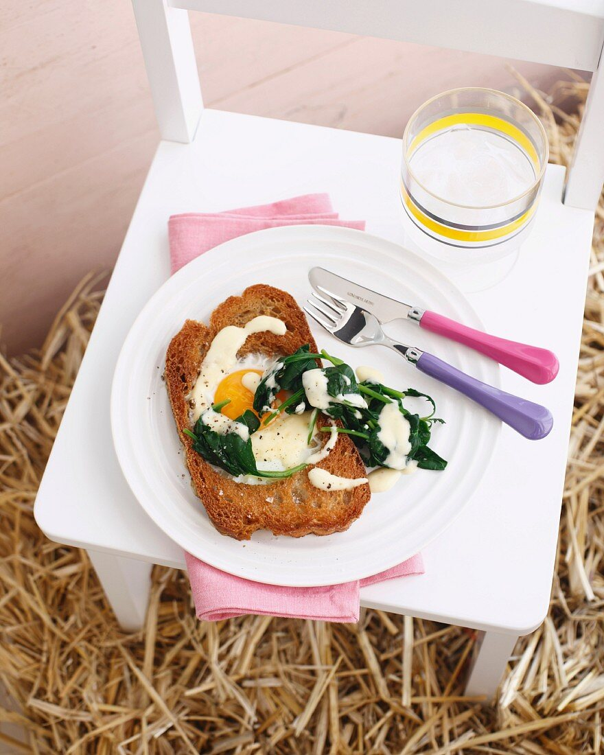 Still life of egg on toast with spinach