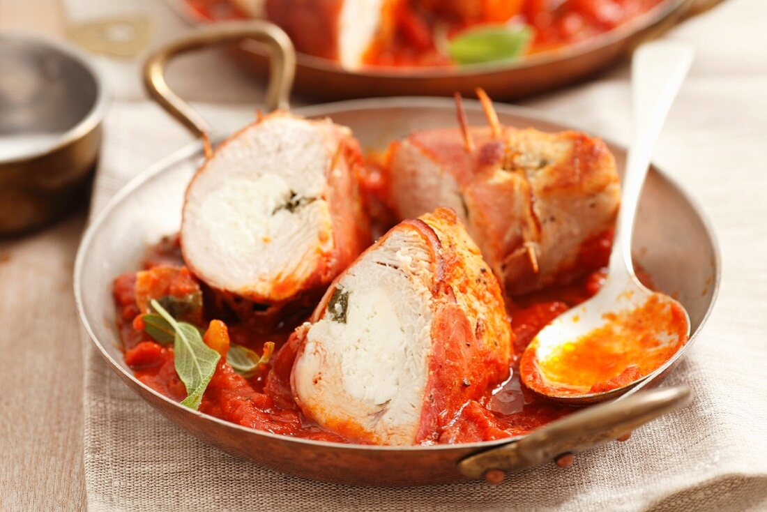 Turkey breast stuffed with feta and sage, in tomato sauce