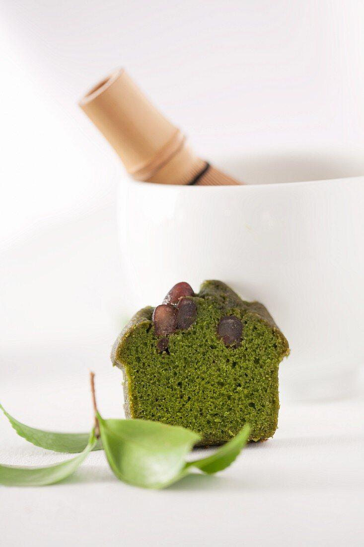 A mini cake made with matcha tea