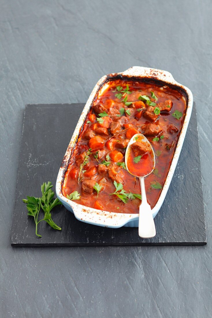 Beef and ale stew with carrots