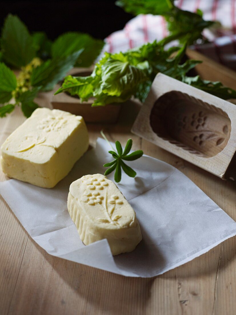 Butter from a wooden mould