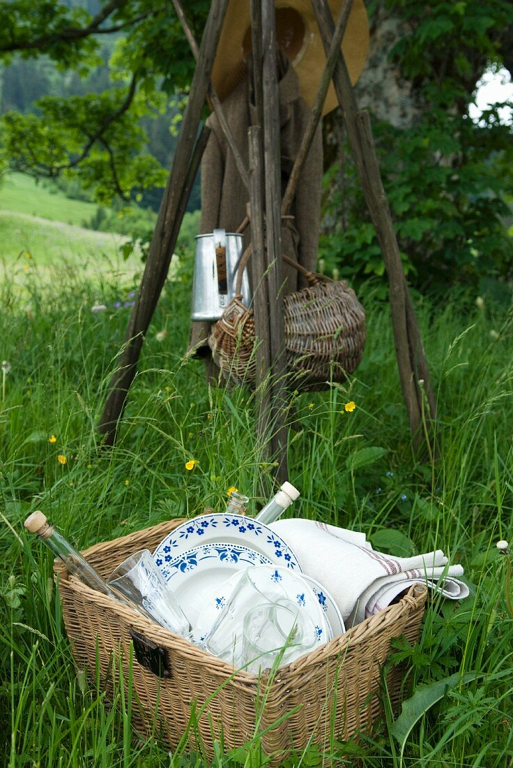 Picnic utensils in a basket