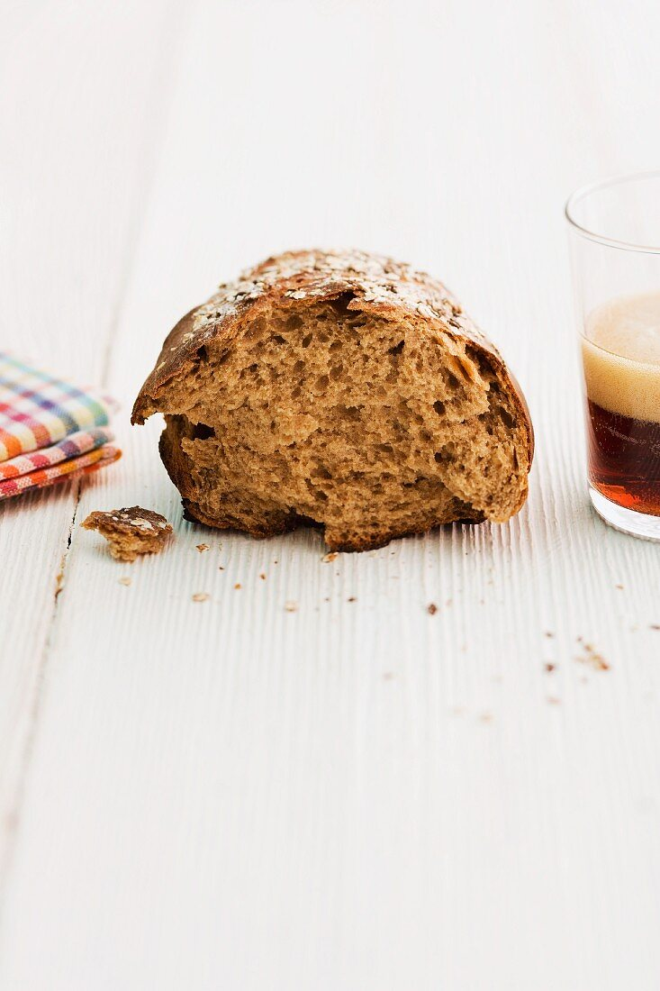 Potato and beer bread, torn