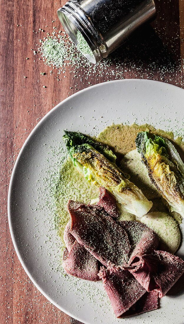 Calf's tongue with anchovy mayonnaise and fried romaine lettuce