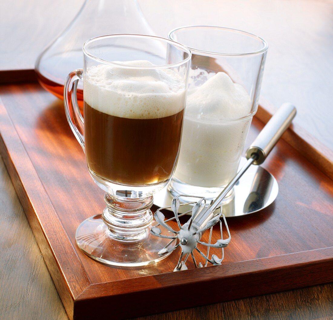 Irish coffee and milk froth