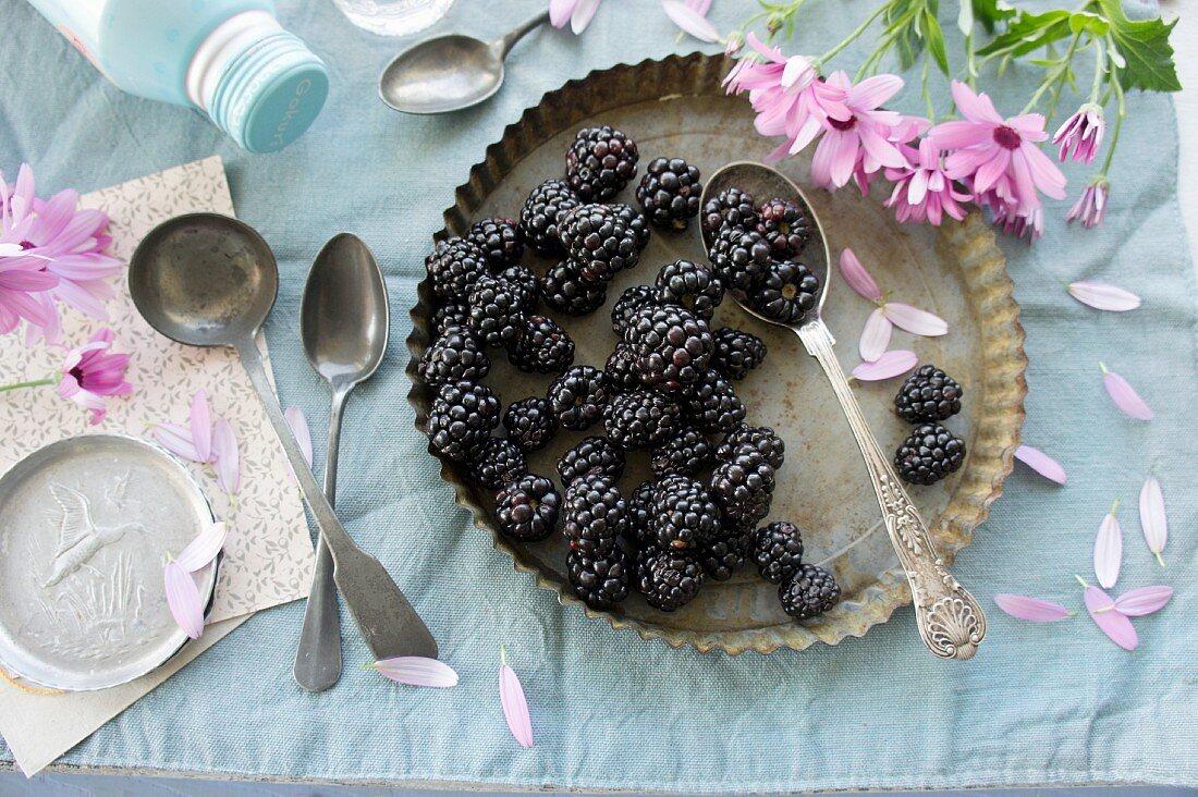 An arrangement of blackberries
