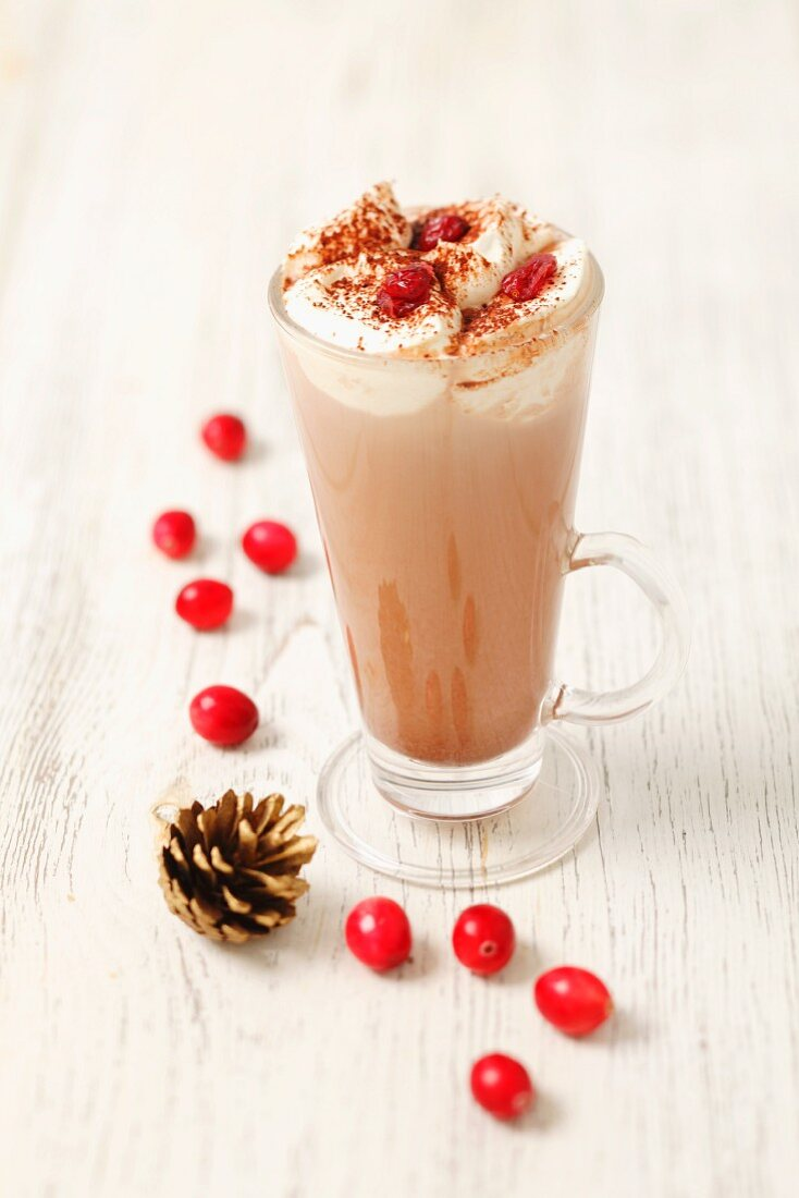 Hot chocolate with vodka, cream and cranberries (for Christmas)