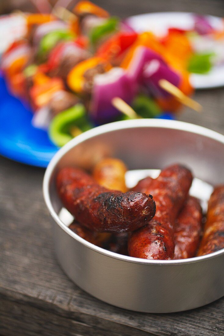 Barbecued Sausages and Kabobs