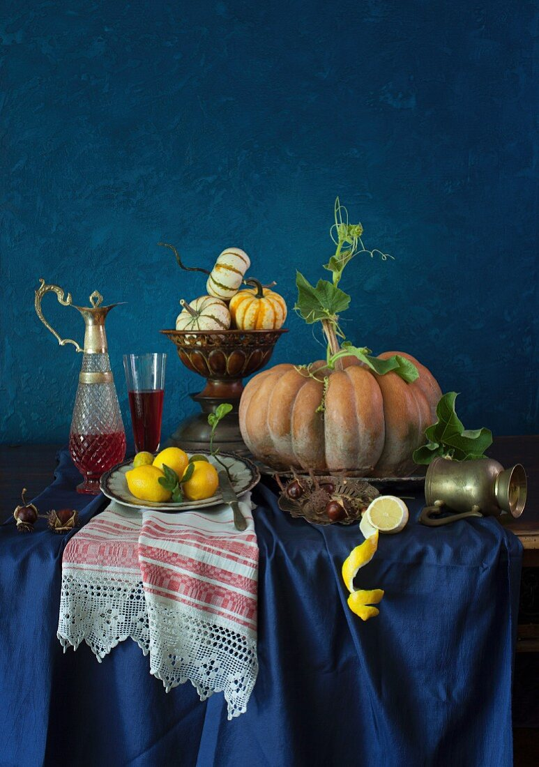 A Still Life with Pumpkins, Lemons, and Wine