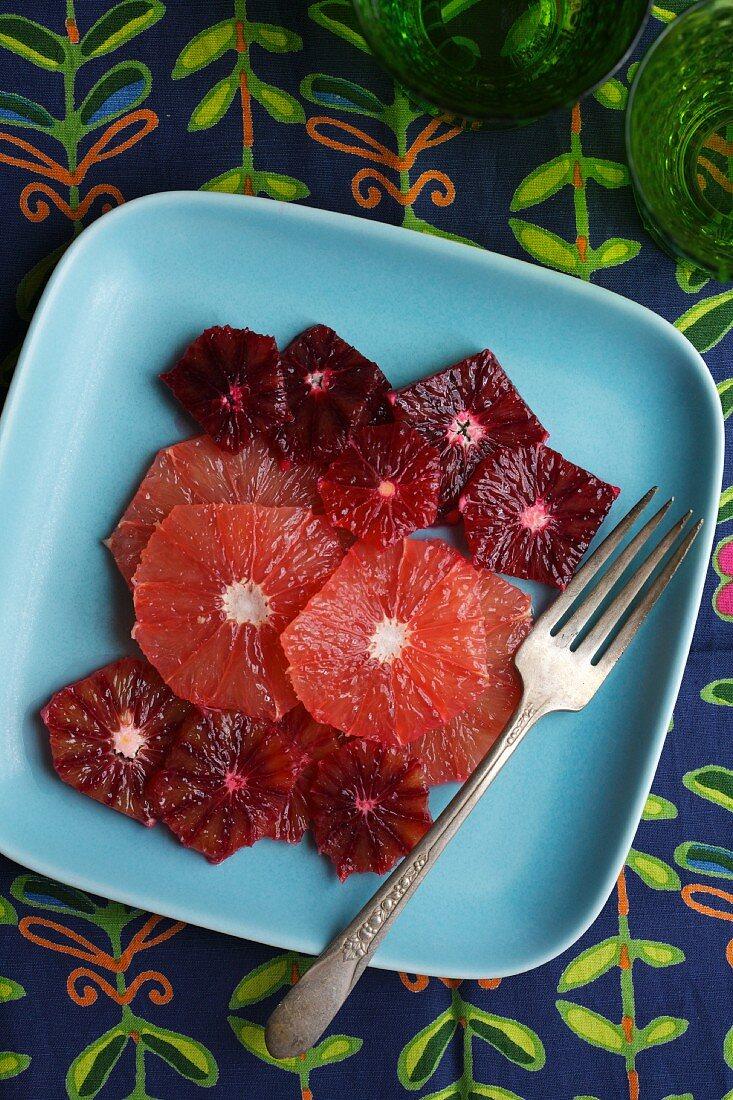 Peeled Slices of Blood Orange and Grapefruit
