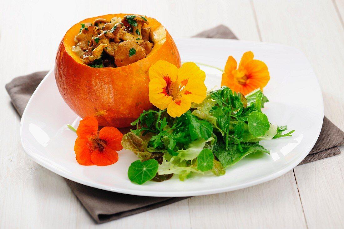 Fried Chantarelles in a Pumpkin wilth Wild Herbs Salad, selective focus