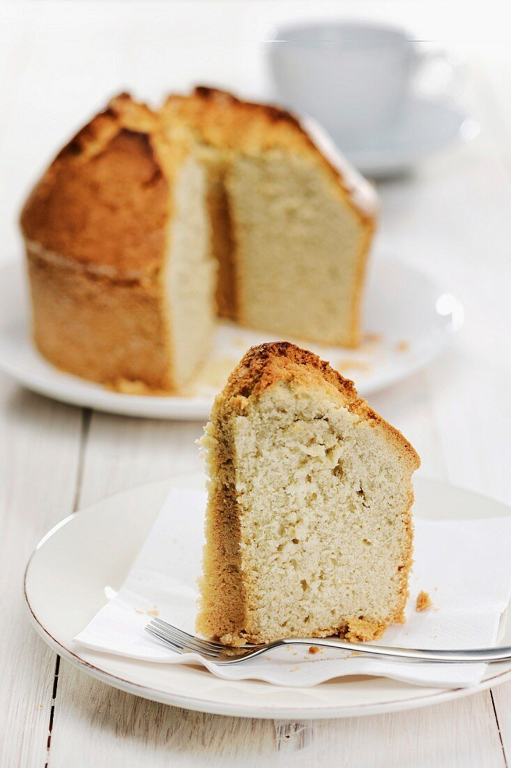 Grandmother s Cookie Crust Cake (baked in angel food pan), selective focus