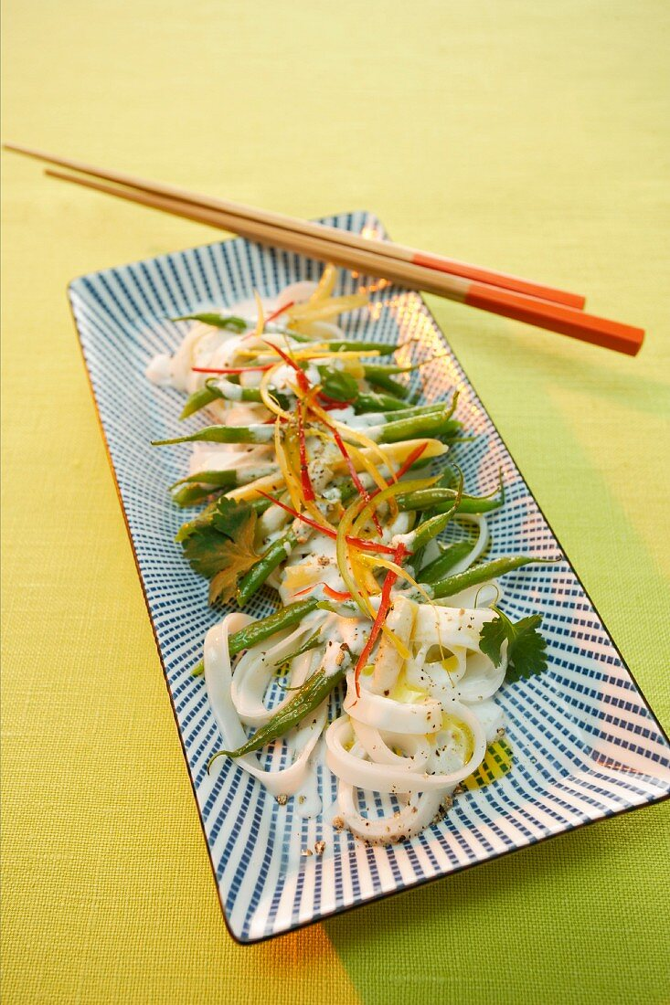 Rice noodle salad with green beans and chilli