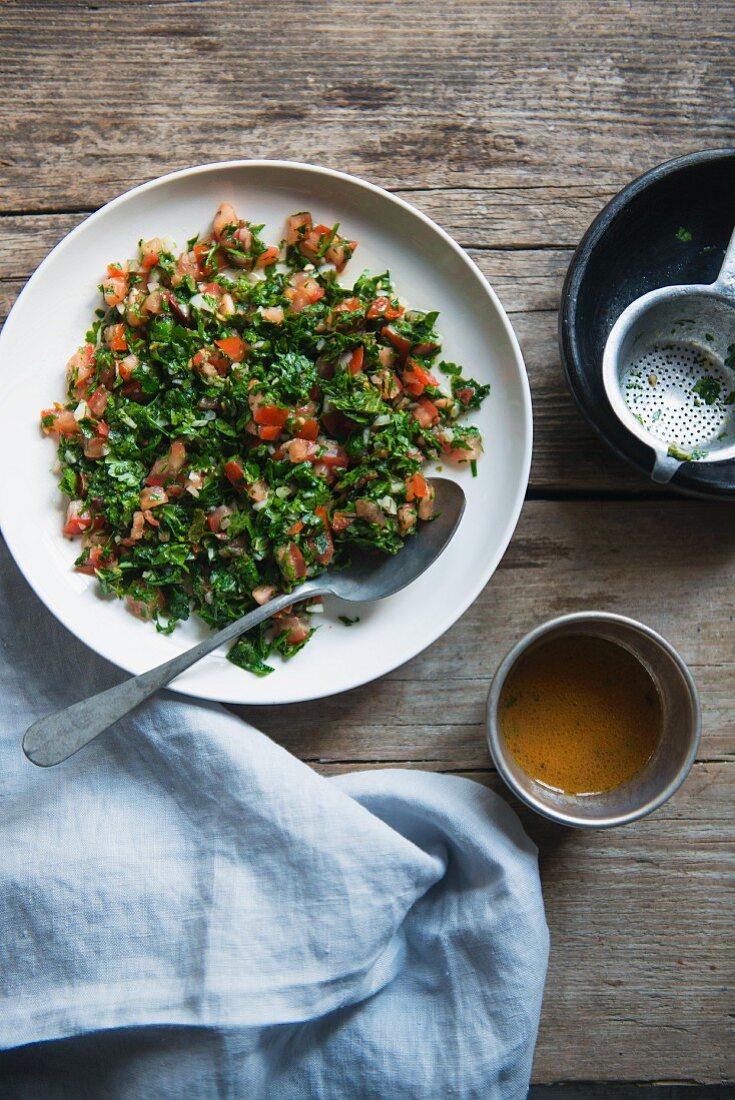 Lebanese tabbouleh salad with tomatoes, parsley and lemon vinaigrette