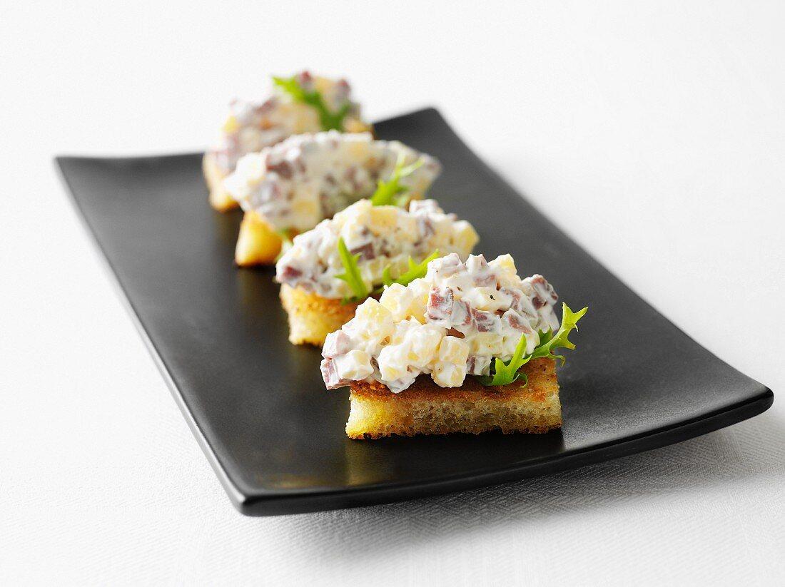 Cheese salad on toast