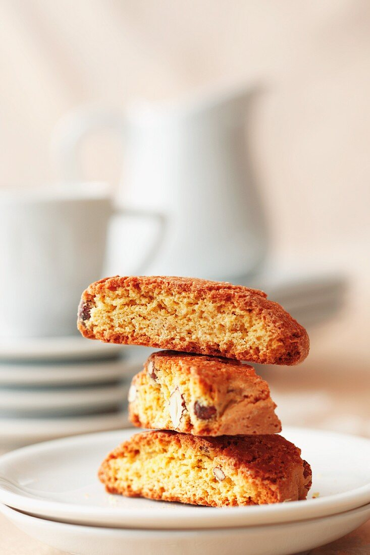 Stacked Biscotti on a White Plate