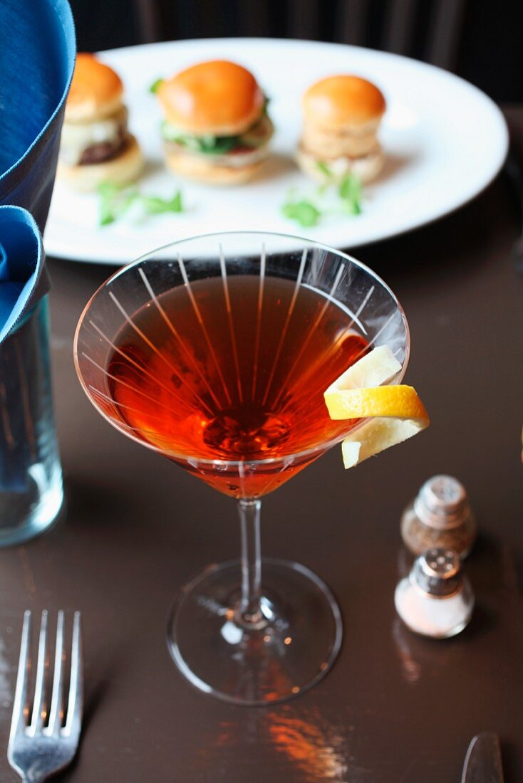 Gin, vermouth and aperol cocktail