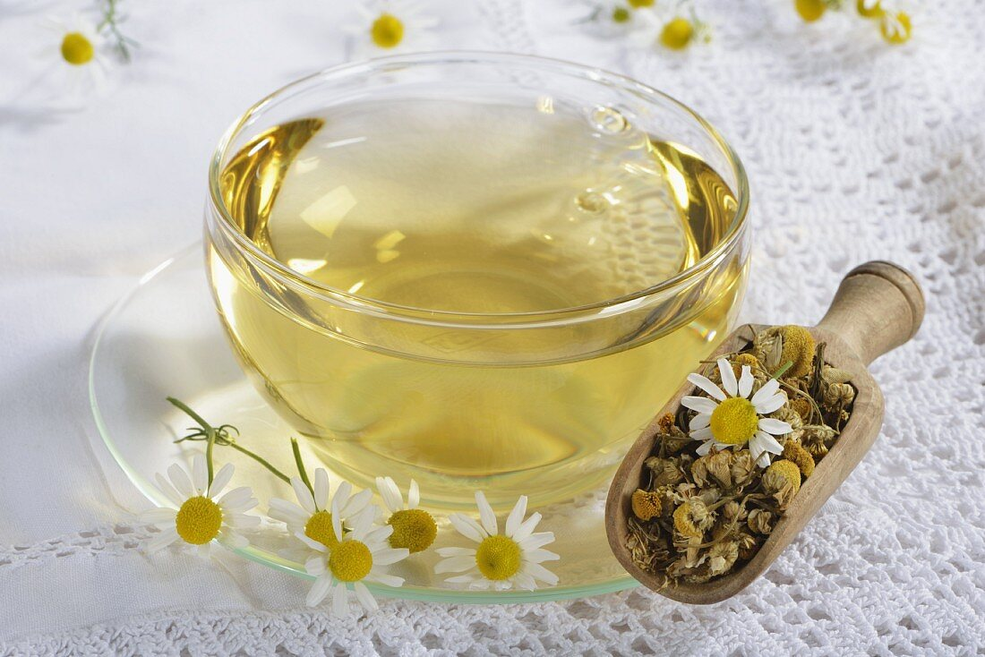 Camomile tea in a glass cup