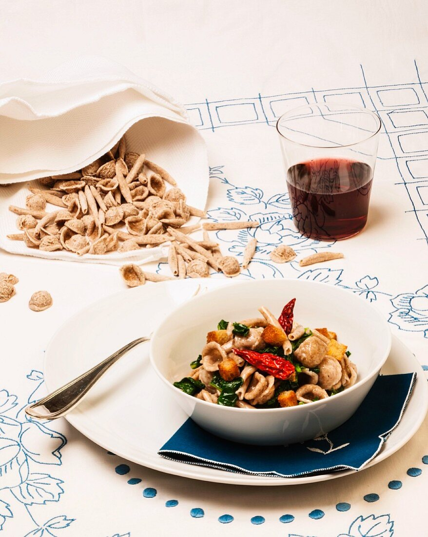 Orecchiette pasta with rapini (Puglia, Italy)