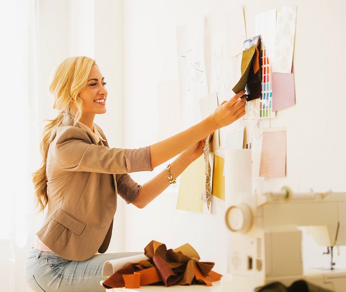 A young woman working as a designer