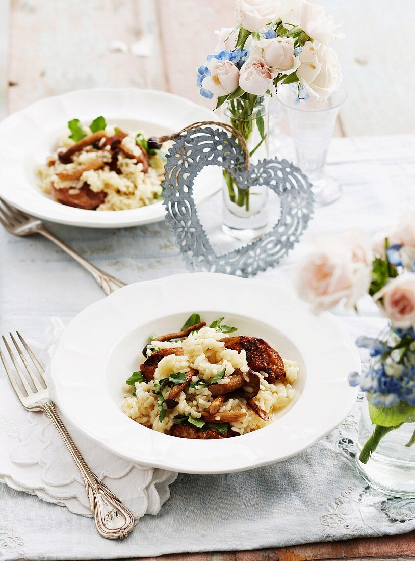 Risotto with mushrooms, quail breast and watercress