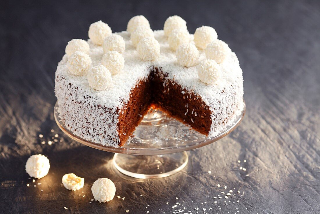Chocolate cake with grated coconut and coconut truffles