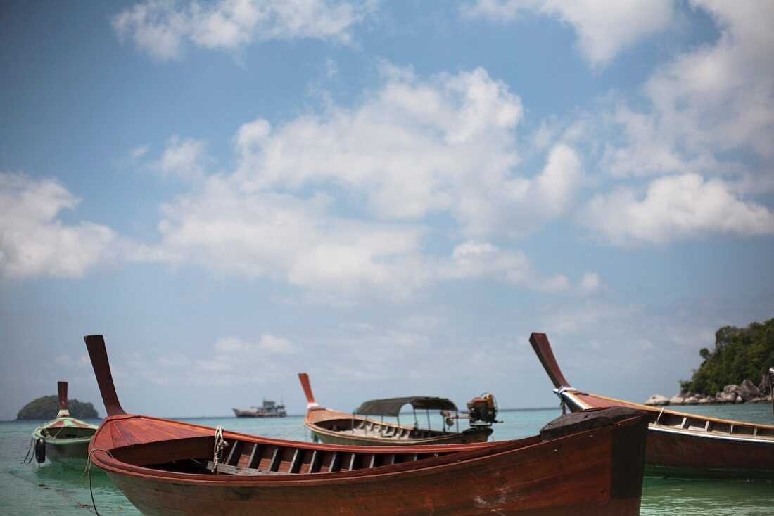 Traditional Boats on Calm Water, Koh Lipe, Thailand