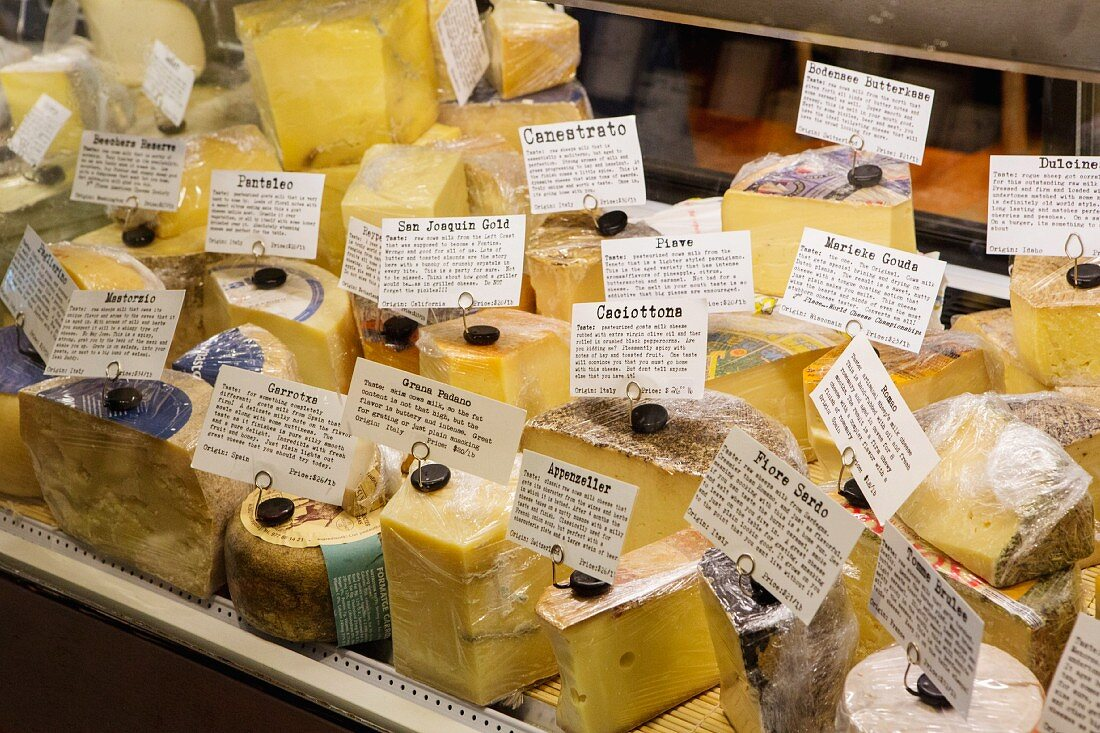 Assortment of Cheese in Store