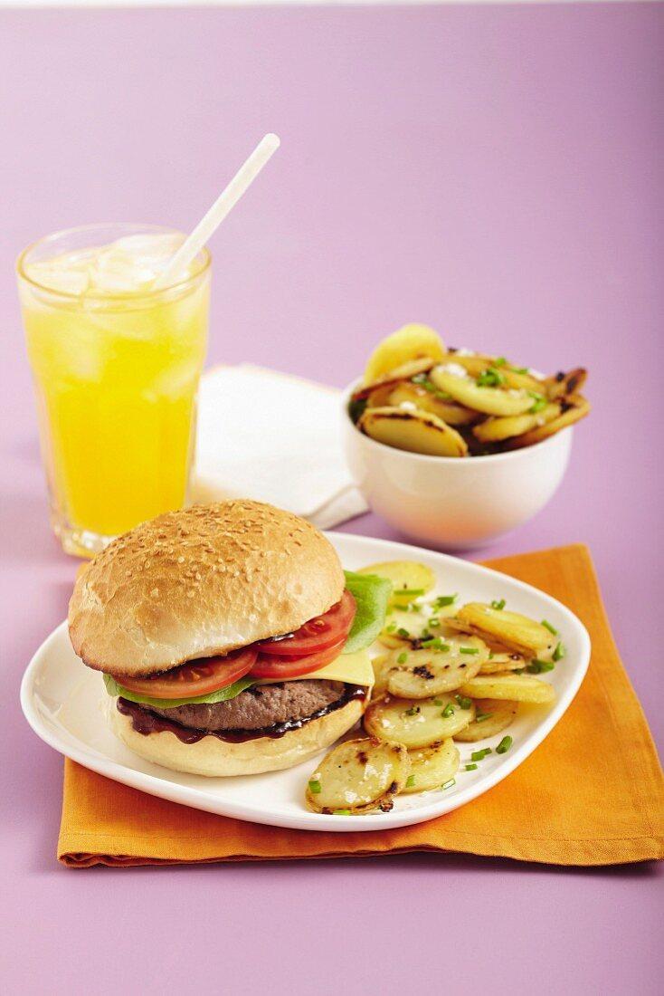 Cheeseburgers with garlic potatoes