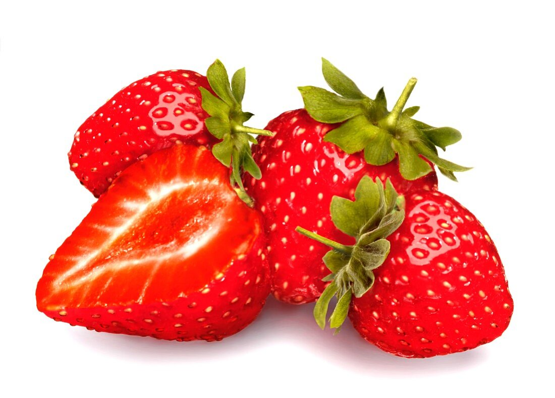 Fresh strawberries, whole and halved