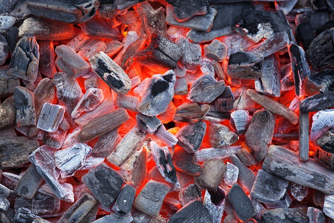 Glowing barbecue coals (full frame)