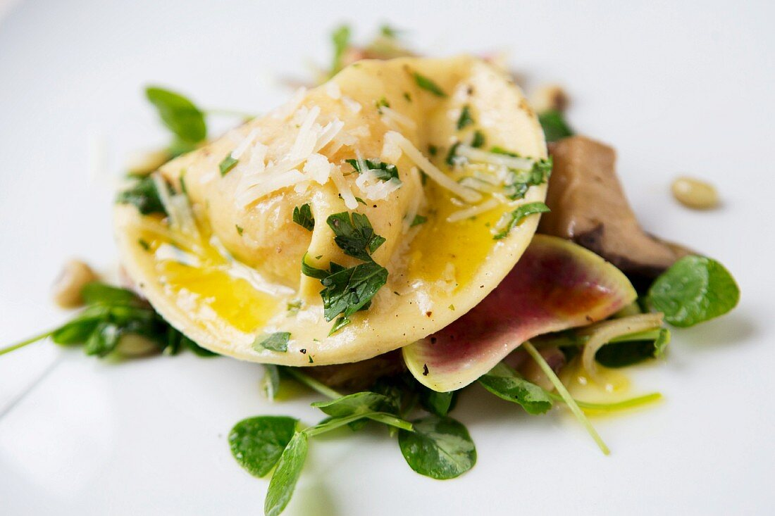 Ravioli with Parmesan and olive oil on a mixed leaf salad