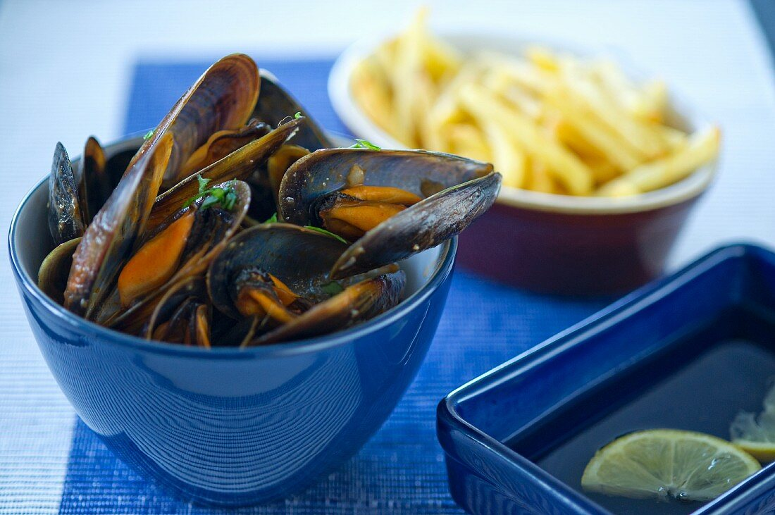 Muscles in tomato sauce with chips
