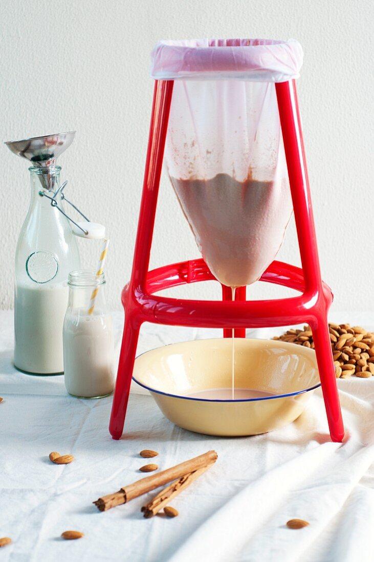 Flavoured almond milk being made