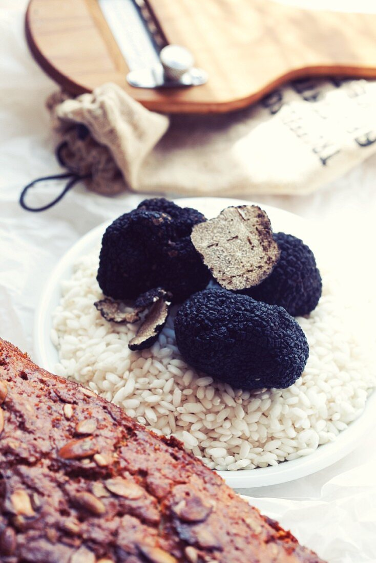 Risotto rice with black truffles (ingredients for truffle risotto)