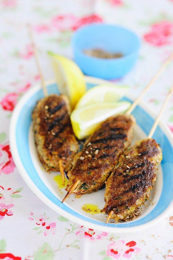 Grilled minced meat kebabs