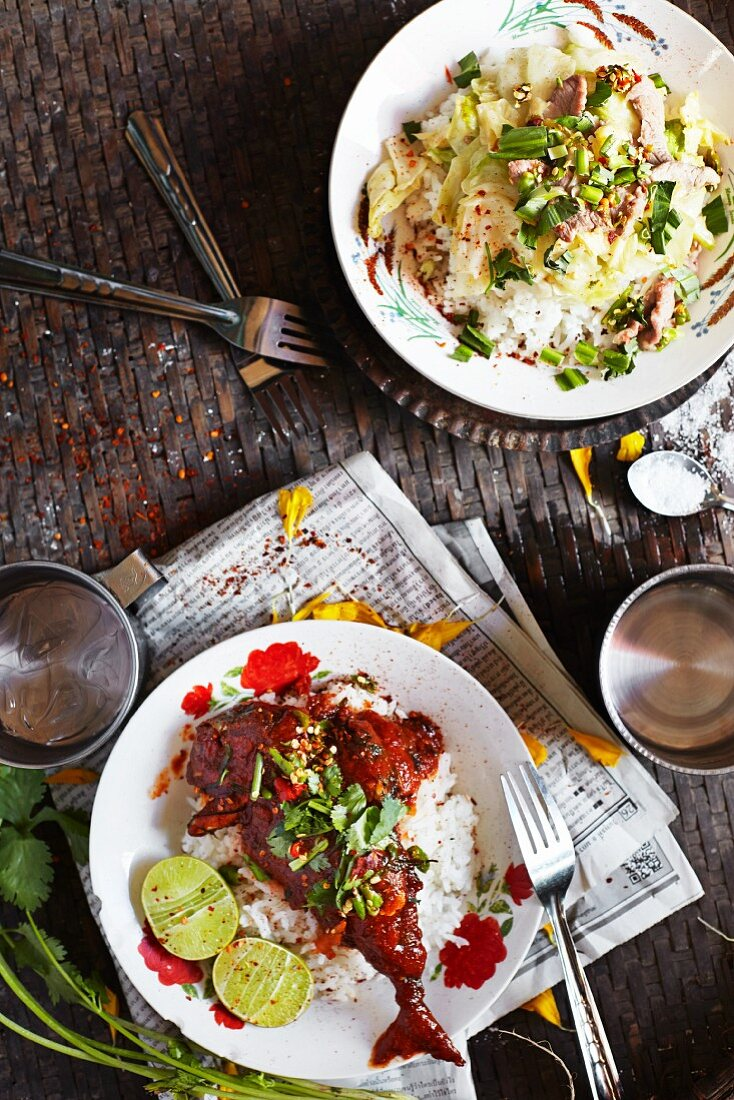 Typical Thai dishes with rice