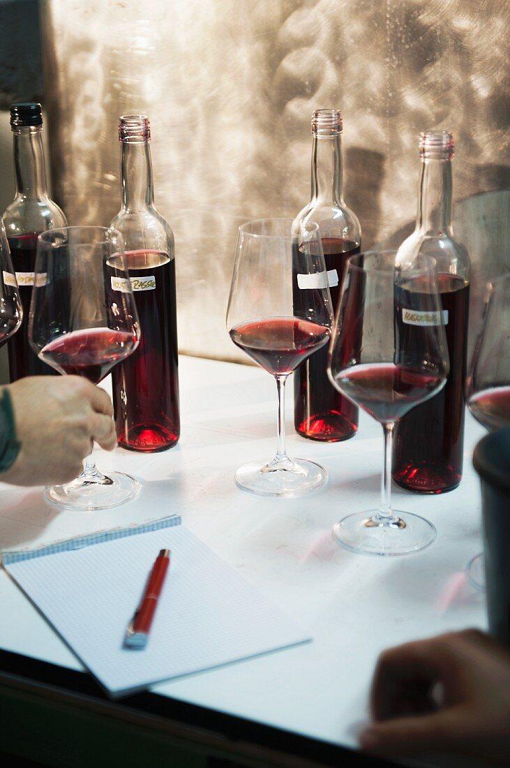 Rotweine assemblieren, Cuvée zusammenstellen