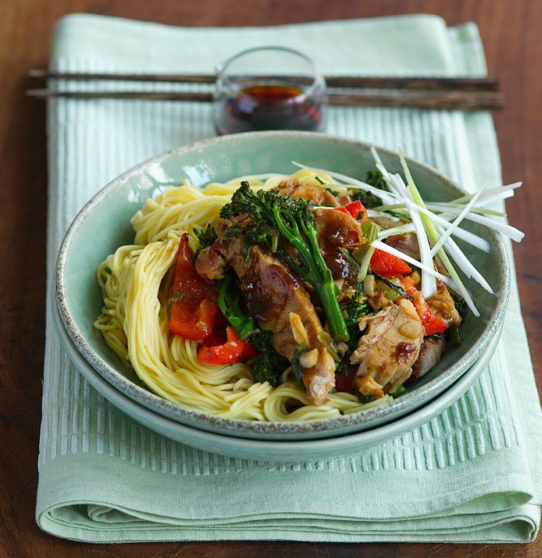 Spaghetti with pork and broccoli (Asia)