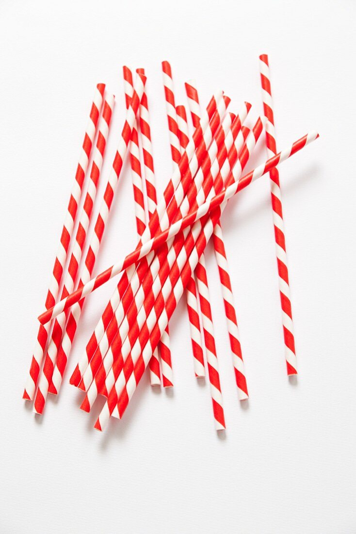 Red-and-white striped straws